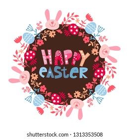 a round frame of flowers with a rabbit. Easter background with easter eggs, bunny, flowers