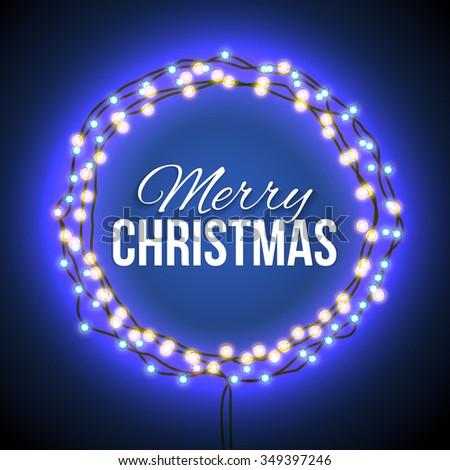 round frame of garlands merry christmas neon blue light festive mood festive