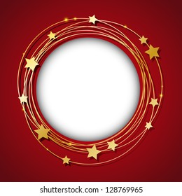 Round frame with golden stars