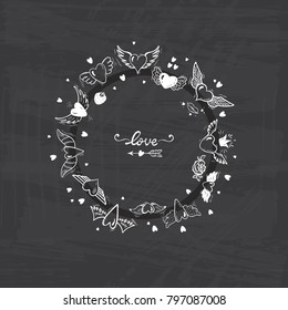 Round Frame of Hearts with Wings for Valentines Day or Wedding greeting cards. Love Vector Set. Beautiful Doodle Heart tattoo. Hand drawn illustration