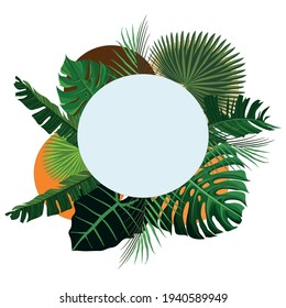 round frame with leaves - banana, taro and palm leaves - vector frame leaves high resolution