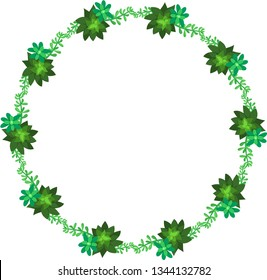 Round frame of lush green succulents. Vector.