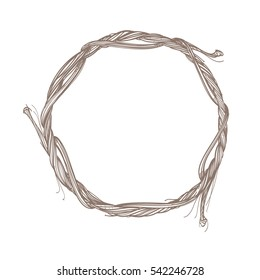 Round frame made of branches. Decorative outline element for design work in the boho style.