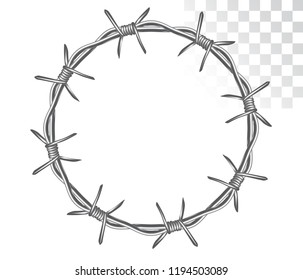 round frame made of graphic barbed wire. isolated on transparent background