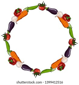 Round frame made of tomatoes, eggplants, garlic heads, bell peppers, green peas and carrots. Decorative circle with different fresh vegetables for your design