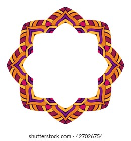 Round frame from the mandala purple. Frame in the form of a stylized lotus.