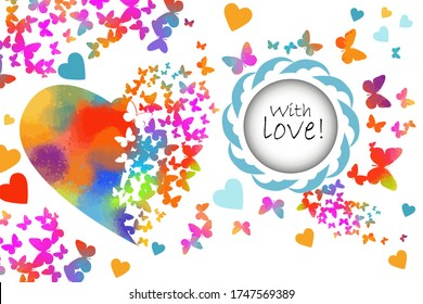 Round frame with multi-colored butterflies. With love. Rainbow heart made of butterflies. Happy Valentine's Day. Vector illustration