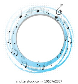 Round frame with music notes on scales illustration