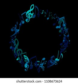 Round Frame of Musical Signs. Modern Background with Notes, Bass and Treble Clefs. Vector Element for Musical Poster, Banner, Advertising, Card. Minimalistic Simple Background.
