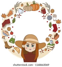round frame on an autumn theme with a painted red-haired girl in a hat