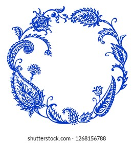 Round frame paisley blue, vector illustration, hand drawing. East ornament, buta.