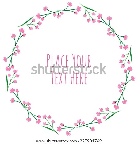 Round frame pink flower garland watercolor stock vector royalty round frame pink flower garland watercolor vector template mightylinksfo