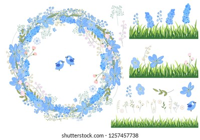Round frame with pretty flowers muscari and text Happy Easter. Festive floral circle for your season design. Isolated elements