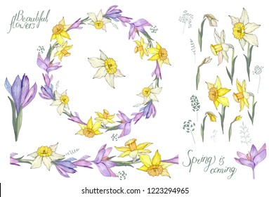 Round frame with pretty yellow daffodils and crocuses. Festive floral circle for your season design.