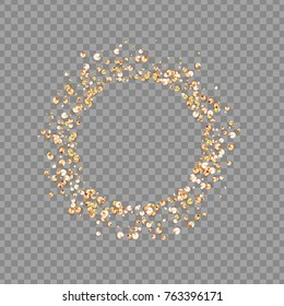 Round frame from rhinestones, iridescent sequins, gems isolated on transparent background.