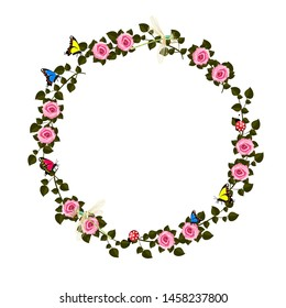 Round frame of roses on a white background