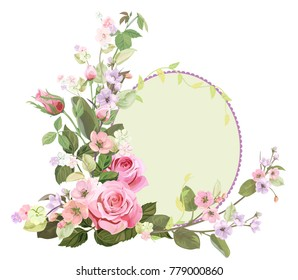 Round frame with roses, spring blossom (bloom), branches with mauve, pink apple tree flowers, buds, green leaves on white background. Digital draw, illustration in watercolor style, vintage, vector