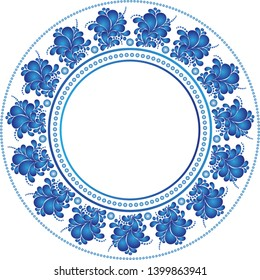 Round frame in russian style Gzhel on a transparent background. Vector image. Eps 8