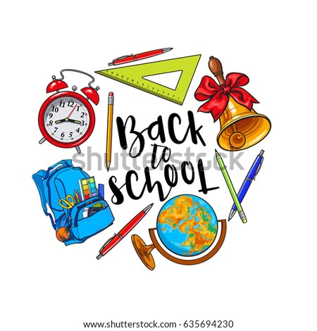 626f1289e Round frame of school items, backpack, stationary with place for text,  sketch vector illustration isolated on white background. Hand drawn school  bag bell ...