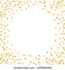 Round Frame of Small Round Confetti. Wreath. Golden Christmas Pattern. Festive Decoration for Holiday Print Card Banner. Realistic Glitter. Isolated Christmas Pattern. Vector.