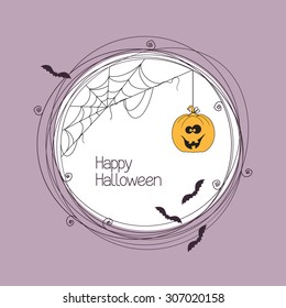 Round frame with spider web, bats and pumpkin for your Halloween text