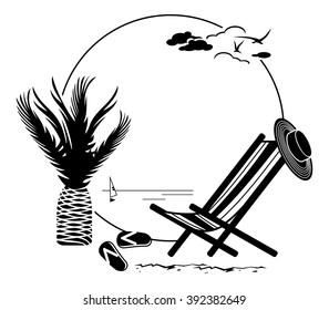 Round frame with sun deckchair