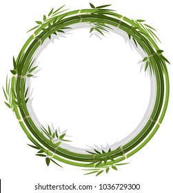Round frame template with green bamboo illustration