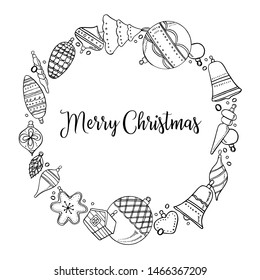 Round frame template. Hand drawn outline vector  illustration of Christmas toys. New Year decorations black on white background