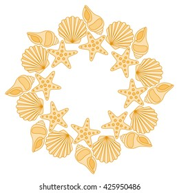 Round frame from various shells vector illustration.