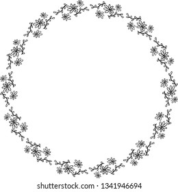 Round frame of wildflowers. Outline. Vector.
