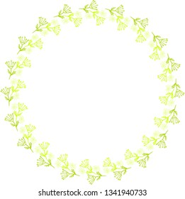 Round frame of wildflowers. Vector.