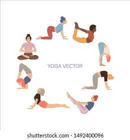 Round frame with women practicing yoga with space for text. Article, yoga classes  design element. Hand drawn flat coloured illustartion