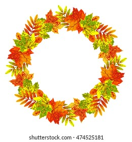 Round frame wreath of autumn leaves