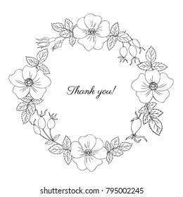 Round frame, wreath wild rose, briar hand drawn dogrose berry vector illustration isolated on white background, line art decorative rosehip for design cosmetic, natural medicine, herbal tea, food menu