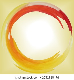 round frame yellow, red and orange, hot, abstract sun, with a place for writing in the center, like watercolor spots, vector
