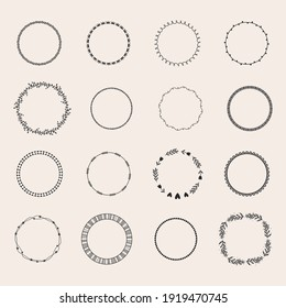 Round frames in doodle style, simple hand drawn circle borders for text, monogram, quote. Big set with dotted, star, floral wreath. Winter, spring, summer, autumn decoration, basic vector illustration