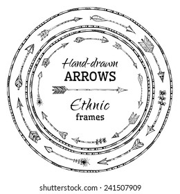 Round frames of ethnic arrows. Black and white illustration. There is place for your text in the center.
