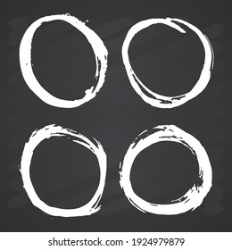 Round Frames, grunge textured hand drawn elements set, vector illustration on chalkboard background.