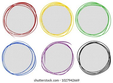 Round frames in six colors illustration