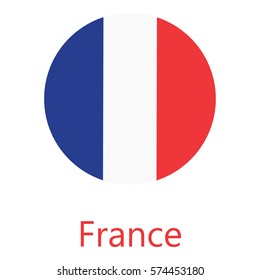 Round france flag vector icon isolated, france flag button