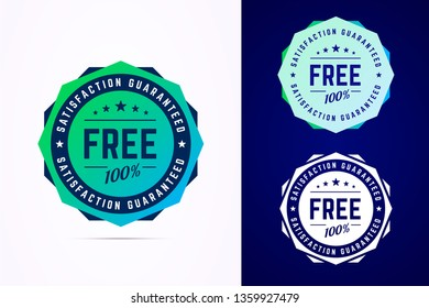 The round free gradient style sticker, tag, button, badge. Vector badge for promotion your free product or service. Vector illustration