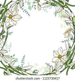 Round garland with spring flowers daffodils and and small blue flowers. Decorative season floral frame for festive design