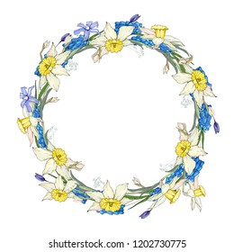 Round garland with spring flowers scilla and daffodils. Decorative saeson floral frame for festive design