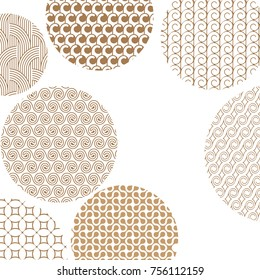 Round geometric golden different patterns on white with clipping mask. Gold abstract shapes. Asian style ornaments. Graphic design for cover,poster, card, template