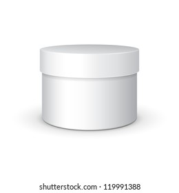 Round Gift Box White Grayscale. On White Background Isolated. Ready For Your Design. Product Packing Vector EPS10