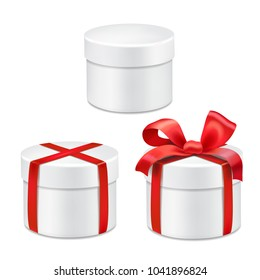 Round gift boxes with red bow Realistic vector 3d collection illustration