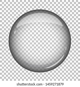 Round glass button (icon). Isolated vector illustration.