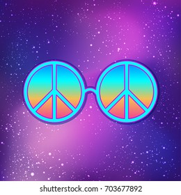 Round glasses with hippie peace sign over cosmic purple background. Woodstock style poster template. Summer and travel, bohemian or hippie concept. Vector illustration in vibrant neon colors.