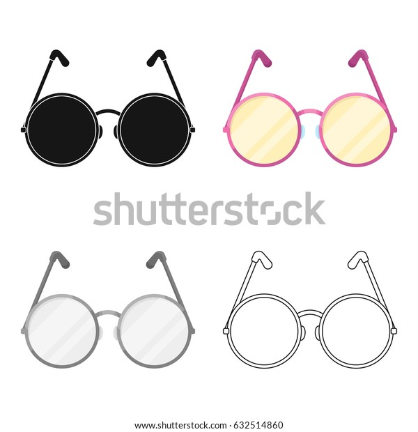 Round glasses in a pink frame.Hippy single icon in cartoon style vector symbol stock illustration web.