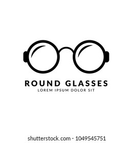 Round glasses vector icon. Can be used as icon or logo for websites, application and mobile.